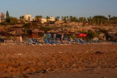 Sandy beach in Cyprus - stock photo