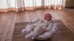 Baby alone laying in a basket 4K Stock Footage