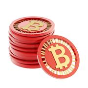 Stack of bitcoin currency coins - stock illustration