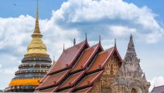 Wat Phra That Lampang Luang Famous Temple Of Lampang, Thailand (zoom out) Stock Footage