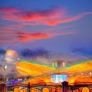 Denia in Alicante sunset with fairground - stock photo