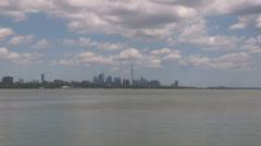Toronto skyline establishing shot on hazy summer day - stock footage