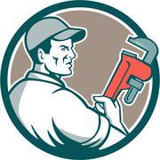Plumber Monkey Wrench Side Circle Retro - stock illustration
