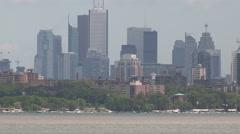 Toronto skyline establishing shot on hazy summer day Stock Footage