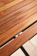 Ipe decking deck wood installation clips fasteners - stock photo