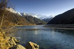 Autunm on the Matukituki River, Mount Aspiring, New Zealand. - stock photo