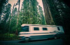 California RV Trip. Class A Recreational Vehicle Stock Photos