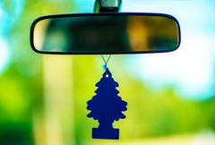 Car Air Freshener Under Inside Car Mirror. Stock Photos