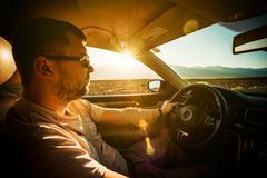 Crossing Southern California Desert by Car Stock Photos