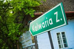 Kalwaria Zebrzydowska Road Sign. - stock photo