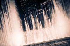 Blowing Las Vegas Fountains at Night. - stock photo