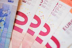 Pinky Ten Euro Bills. - stock photo
