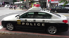Toyko Police Car Park On The Curbside Shibuya Japan Stock Footage