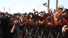 Gay, Lesbians, Bisexuals, Transgenders and their fans march Gay Pride Parade Stock Footage
