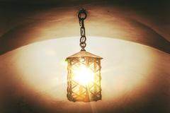 Burning Vintage Lantern. Vintage Color Grading Photo. Stock Photos