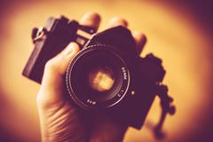 Vintage Photography Concept. Vintage Analog Camera - stock photo