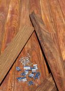 Ipe deck wood installation screws clips fasteners Stock Photos