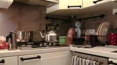 4K Preparing Coffee in a European Style Coffee Maker 1 - stock footage