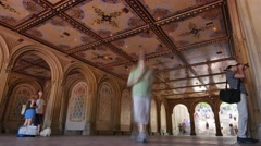 Time Lapse Tourists Visit Bethesda Terrace in Central Park Stock Footage
