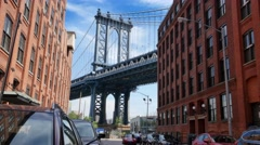 Manhattan Bridge Timelapse from DUMBO Brooklyn - stock footage