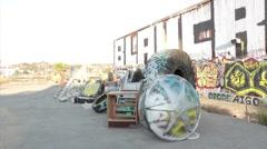 Downtown Grunge Sculpture w Corner Pins Stock Footage