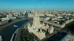 Moscow cityscape with Stalin's high-rise building Stock Footage