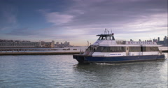 A NY Waterway commuter ferry approaching a dock Stock Footage