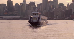 A NY Waterway commuter ferry approaching the dock Stock Footage
