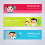 Cartoon character banner design set of occupation - stock illustration