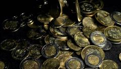 Mexican Peso Coins Falling Slow Motion Stock Footage