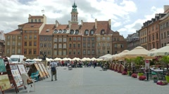 Market Place in the old town. Warsaw, Poland Stock Footage