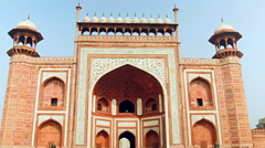 The decorative gated entranceway to the Taj Mahal Stock Footage