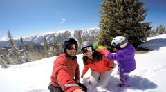 Selfie portrait Caucasian family snow skiing parents children healthy lifestyle Stock Footage