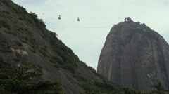 Rio de Janeiro, Brazil. The cable car to sugar loaf. Pao de Acucar. Cloudy day.  Stock Footage