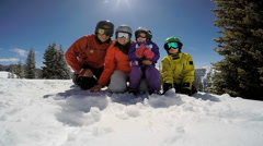 Portrait leisure lifestyle Caucasian male female family snow vacation outdoor Stock Footage