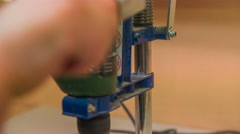 Wood spinning on drilling machine close up 4K Stock Footage