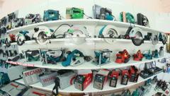 Power tools in the shop - fisheye lense Stock Footage