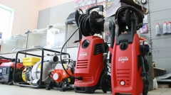 High pressure washers and power generators Stock Footage