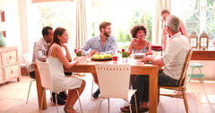 Group Of Friends Celebrating Birthday At Home Together - stock footage