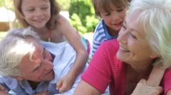 Grandparents And Grandchilden Having Fun In Park Together - stock footage