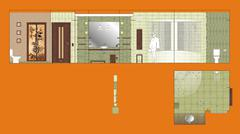 Drawing Wall and floor Bathroom - stock illustration