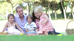 Family Enjoying Picnic Together Stock Footage