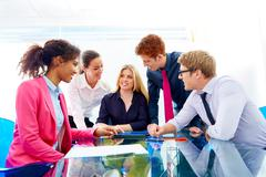 Multi ethnic teamwork of young business people - stock photo