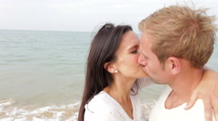 Romantic Couple Hugging And Kissing On Beach Together Arkistovideo