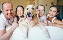 Dog and happy family Stock Photos