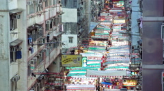 Temple street night market of Hong Kong Stock Footage