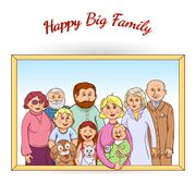 Stock Illustration of Happy family framed portrait