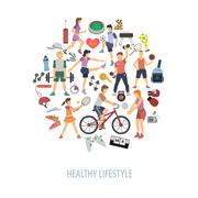 Healthy Lifestyle Concept - stock illustration
