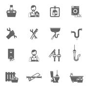 Plumber Icons Black Stock Illustration