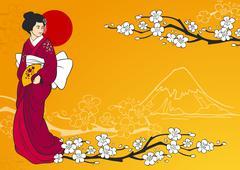 Geisha Vector Illustration - stock illustration